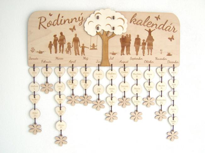 """Drevený rodinný kalendár """"Strom"""""""