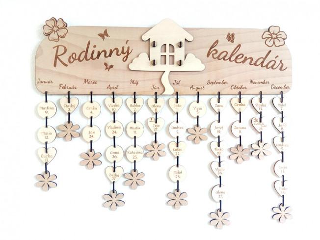 """Drevený rodinný kalendár """"domček"""""""